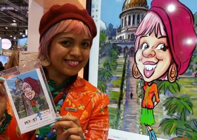 LC - Live reveal digital caricature by Luisa Calvo at WTM 2016
